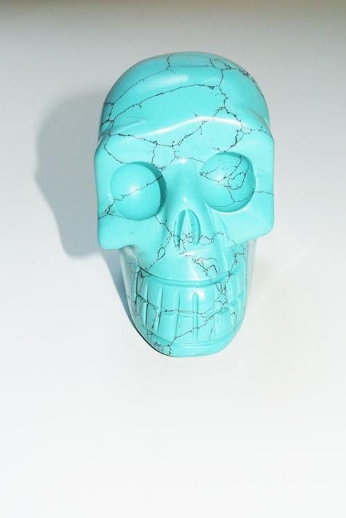 Turqouise Skull afmetingen 7.5 x 4.5 x 6.5, 264 gram