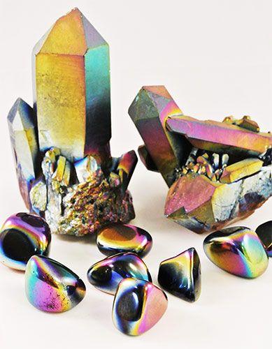 Titanium Regenboog Kwarts, Titanium Aura punten en trommelstenen