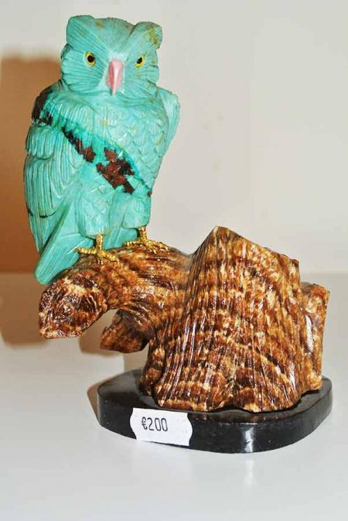 Turkoois carving, edelsteen beeld uil, edelsteen uil, aragoniet, onyx