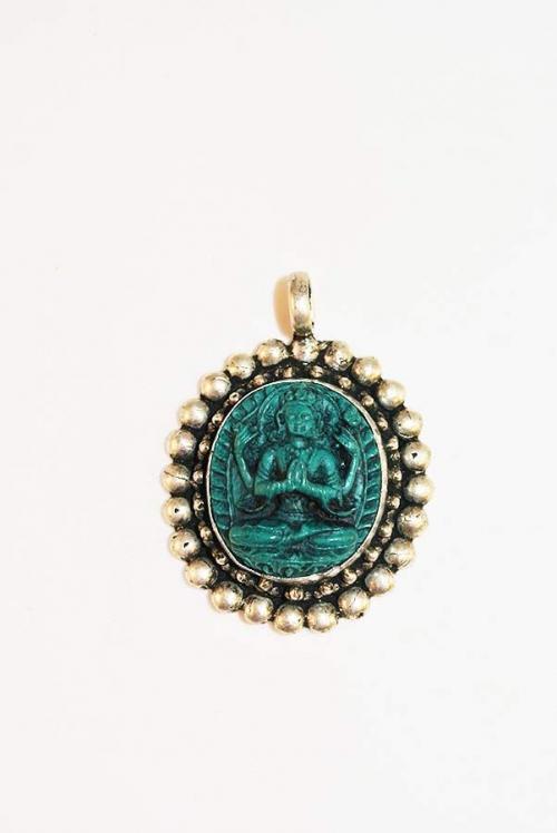 Turkoois Vishnu edelsteen hanger op zilver