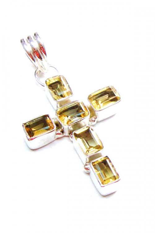 citrine cross pendant, zilveren kruis citrien, zilveren hanger citrien, citrien kruis