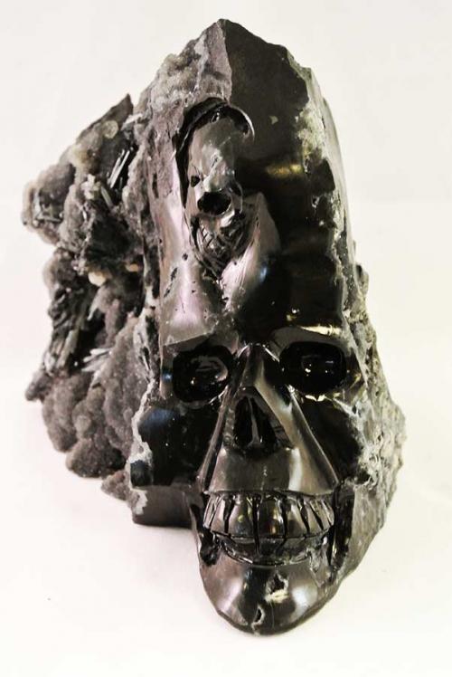 stibniet crystal skull, stibnite crystal skull, antimoniet crystal skull, kristallen schedel antimoniet, stibniet kristallen schedel