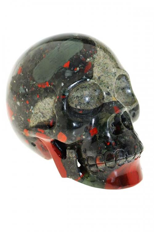 bloedsteen crystal skull, bloedsteen kristallen schedel, bloed jaspis, bloodstone, heliotroop, energie, maag, schedel, schadel, kopen, skull