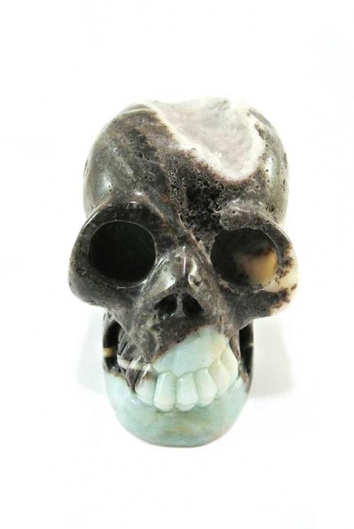 amazoniet crystal skull, amazoniet kristallen schedel, amazonite crystal skull, kopen, happy spirit, chinese amazoniet, amazoniet geode kristallen schedel, toermalijn
