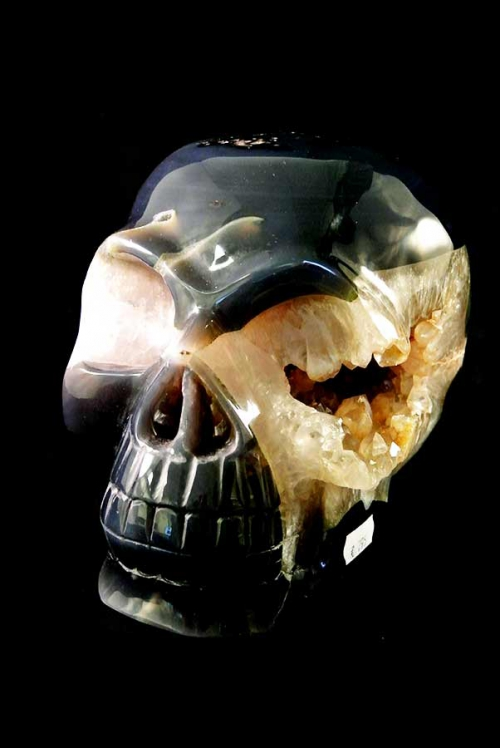 golden healer geode kristallen schedel, Agaat geode schedel, 22 cm, crystal skull, geode, clear quartz, dendriet, dendrite, bergkristal, kopen