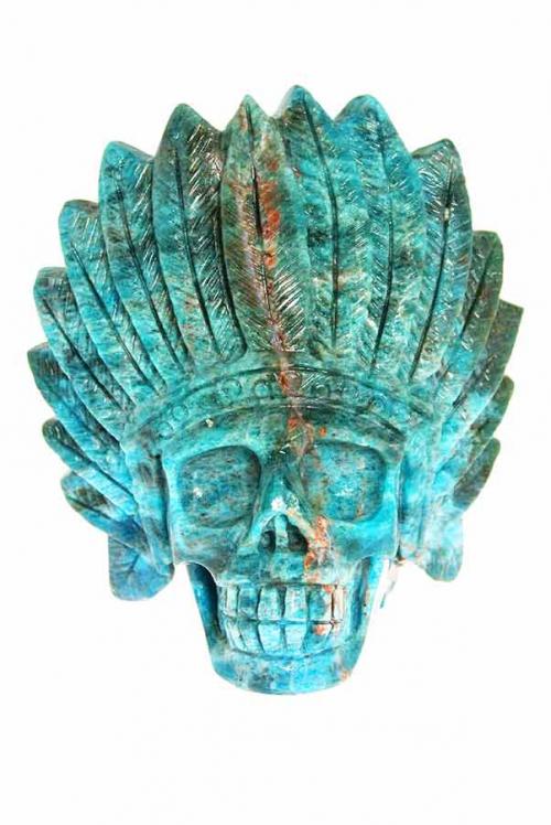 Apatiet Indianenschedel, rode apatiet, blauwe apatiet, kristallen schedel, crystal skull, kopen, bestellen, nederland, arnhem, indianenschedel, indiaan, natief amerikaans