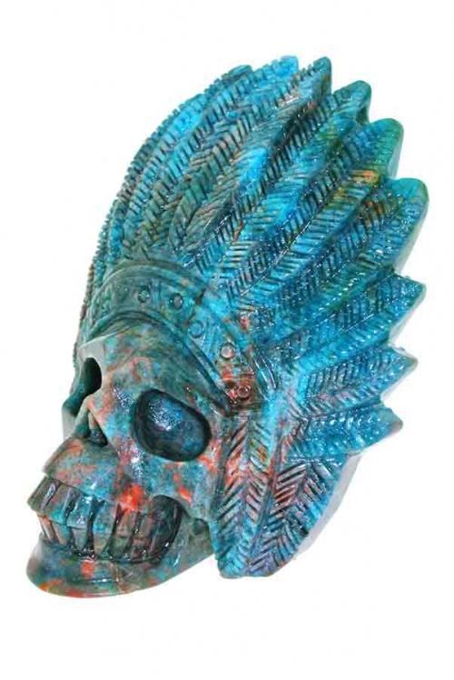 Apatiet Indianenschedel, rode apatiet, blauwe apatiet, kristallen schedel, crystal skull, kopen, bestellen, nederland, arnhem, indianenschedel, indiaan, natief amerikaans, blauwe met rode apatiet indianen schedel