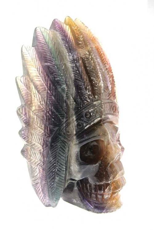 Regenboog fluoriet indianenschedel, native american skull, crystal skull, rainbow fluorite, regenboog fluoriet, schedel, kristallen schedel