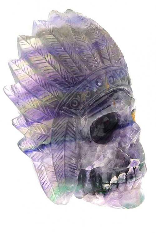 Regenboog fluoriet indianenschedel, native american skull, crystal skull, rainbow fluorite, regenboog fluoriet, schedel, kristallen schedel, paarse fluoriet