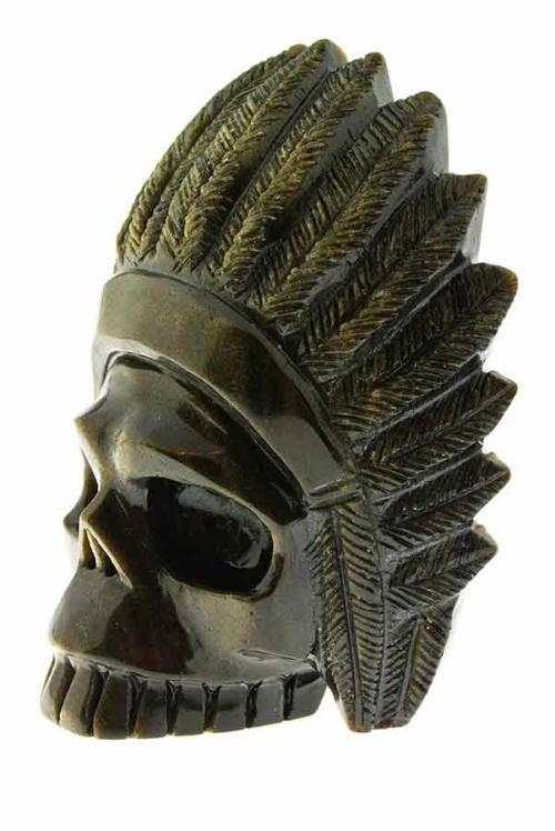 Goud Obsidiaan indianenschedel,, indianskull, skull, crystal skull, kristallen schedel, kopen