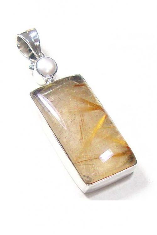 Goud Rutiel hanger zilver , golden rutile, gouden rutiel, goudrutiel, kopen, parel