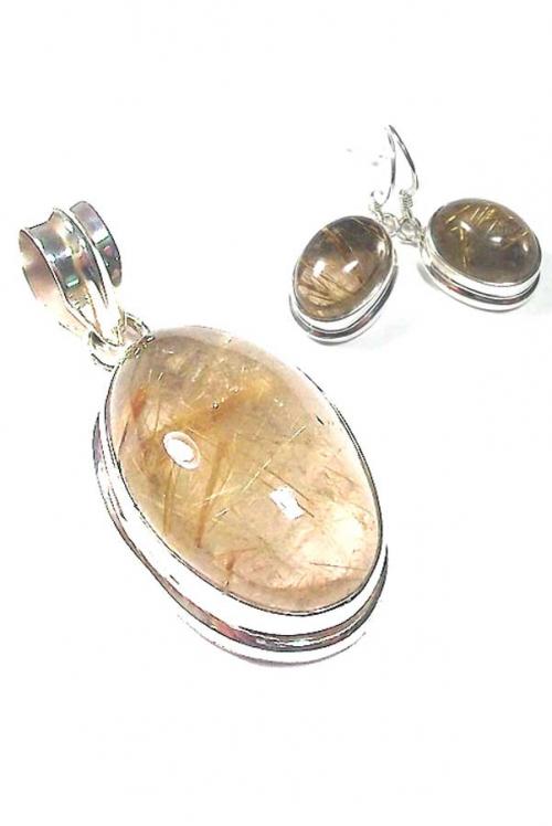 Goud rutiel zilveren sieraden set, hanger en oorbellen, 925 sterling