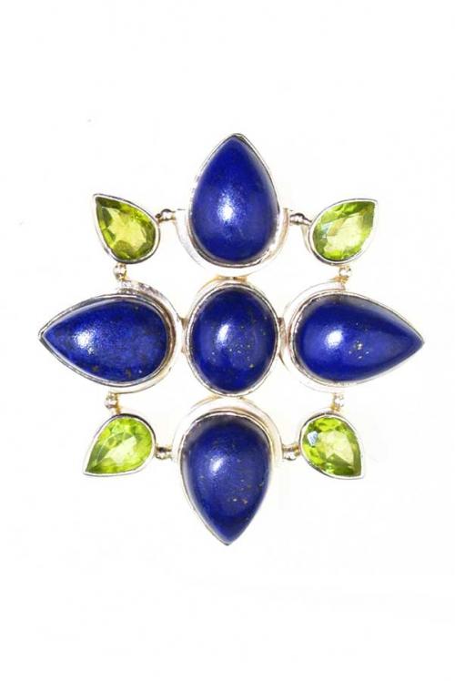 Lapis Lazuli met Peridoot zilveren hanger, peirdoot hanger, lapis lazuli hanger, zilver, silver, peridot, lapis, kopen, edelsteen hanger