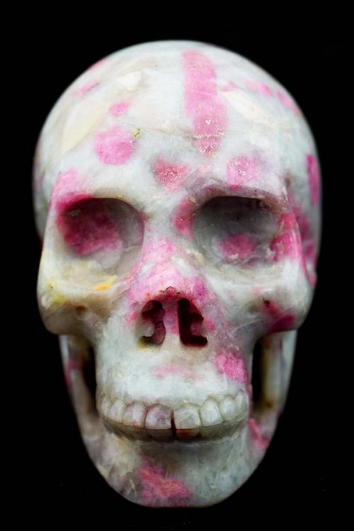 Roze Toermalijn kristallen schedel, Lepidoliet met roze en groene Toermalijn schedel, kopen