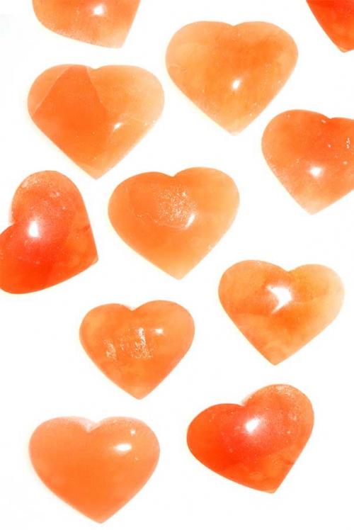 Seleniet hart, edelsteen hart, edelstenen hart, harten, kopen, seleniet, selenite, steen. oranje seleniet hart groot, orange selenite, seleniet oranje