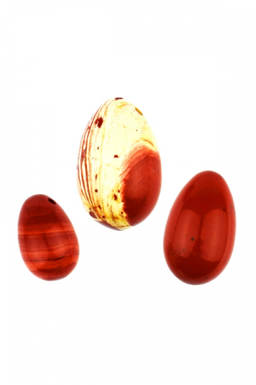 rode jaspis Yoni ei set van 3, yoni sets, eieren, Large, Medium en Small, jade yoni ei, kopen, jadeiet, vagina, heling, edelstenen, spiritueel, jaspis brecchie, brecchia, brechie, red jasper, rainbow jasper