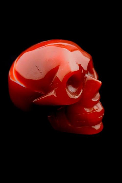 Carneool kristallen schedel, kristallen carneool schedel, bloedagaat skull