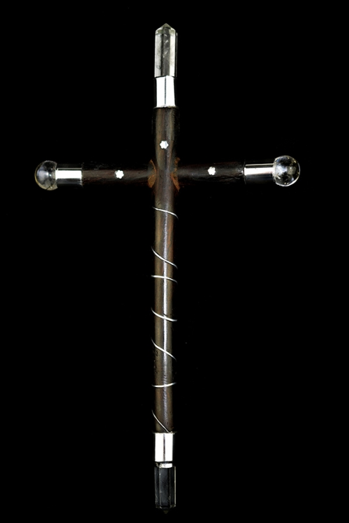 Rozenhout kruis healing wand, bergkristal en Tibetaans zilver, 22 - 24 cm, jezus, christus energie, uitdrijving, kopen, healing staaf