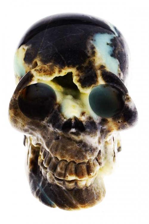 Amazoniet met Toermalijn schedel, 12 cm, 1.23 kilo, amazoniet crystal skull, amazoniet kristallen schedel, amazonite crystal skull, kopen, happy spirit, chinese amazoniet, amazoniet geode kristallen schedel, toermalijn, amazoniet schedel