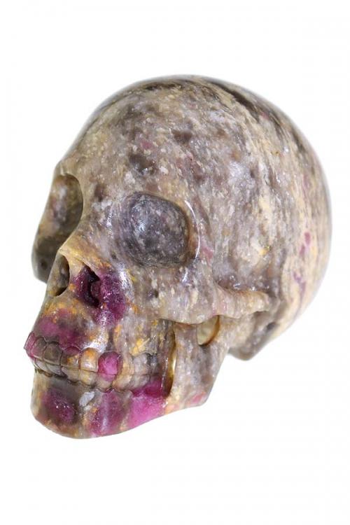 Lepidoliet met roze en groene Toermalijn schedel, 7.5 cm, 300 gram