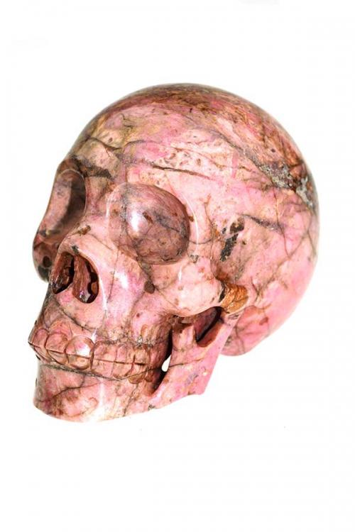 Rhodoniet kristallen schedel, 10.5 cm, 870 gram, rhodonite crystal skull, edelsteen schedel, edelstenen skull, kopen, arnhem
