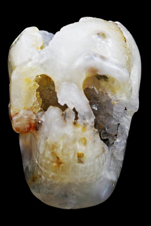 Bergkristal met Citrien geode kristallen schedel, citrien kristallen schedel, bergkristal kristallen schedel, crystal skull, kopen, geode schedel, agaat