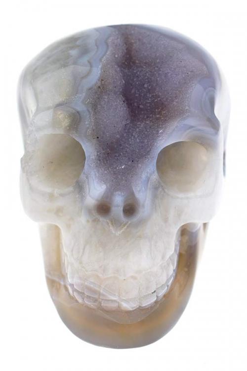 Paarse Chalcedoon met begrkristal en agaat geode kristallen schedel, 10 cm, 616 gram, crystal skull, kristallen schedel, kopen