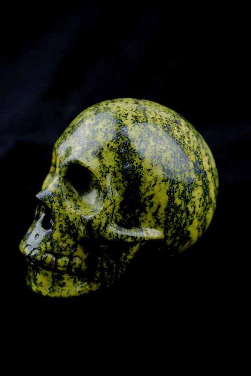 serpentijn kristallen schedel, realistisch, serpentine, crystal skull, edelstenen, kopen