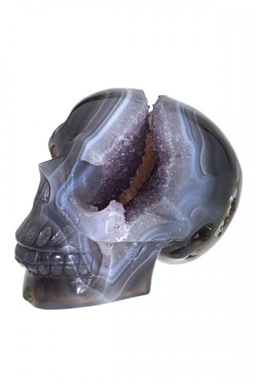 Agaat met Chalcedoon en Amethist geode kristallen schedel, kristallen geode schedel, special crystal skull, rare crystal skull, zeldzame kristallen schedel