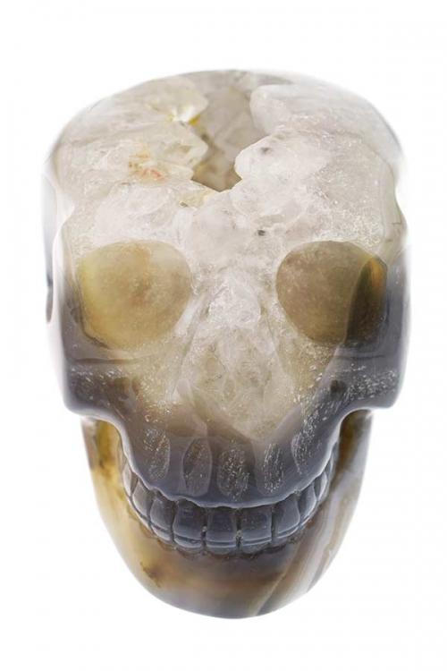 Agaat met bergkristal geode kristallen schedel, kristallen geode schedel, special crystal skull, rare crystal skull, zeldzame kristallen schedel