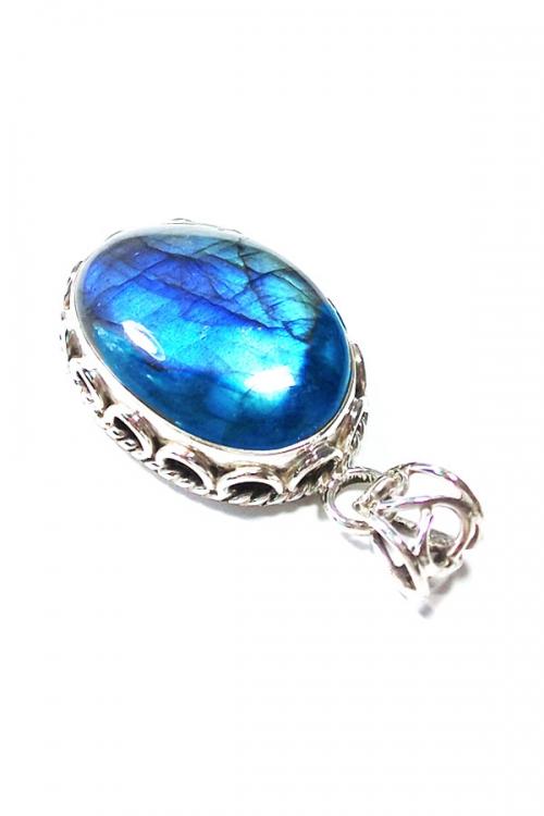 Blauwe Labradoriet zilveren hanger, 925 sterling, ovaal, 2-3 cm, BLUE LABRADORITE, kopen, edelstenen hanger, edelsteen, silver