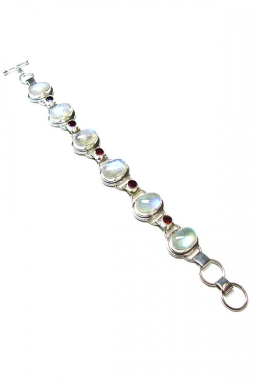 Regenboog Maansteen armband zilver met granaat, regenboog maansteen, rainbow moonstone, kopen