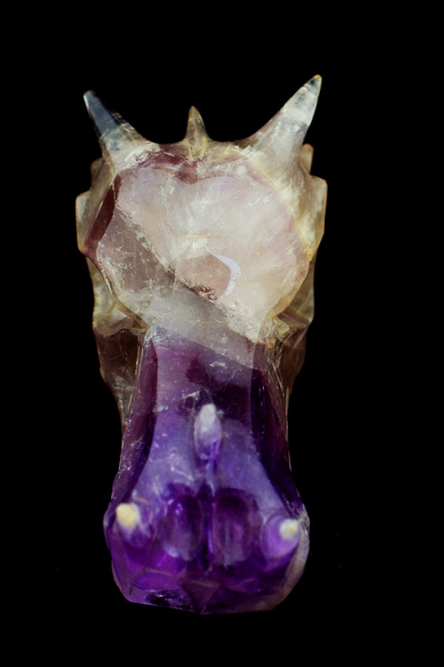 amethist kristallen drakenschedel, amethist met rookkwarts drakenschedel, amethyst crystal dragon skull, kopen, rookkwarts, smokey quartz, kopen
