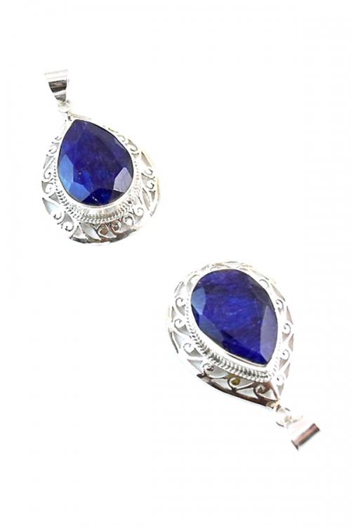 Saffier hanger zilver, druppel vorm, 925 sterling, 4 cm, saphire, pendant, kopen