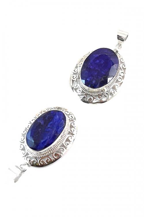 Saffier hanger zilver, ovaal vorm, 925 sterling, 4 cm, sapphire, oval, buy, kopen