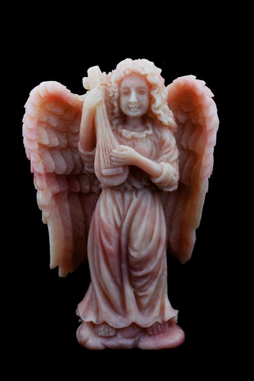 Andes Opaal engel met banjo, andes opal angel, gemstone angel, edelsteen engel, edelstenen engel, gedetailleerd, speciaal, kopen