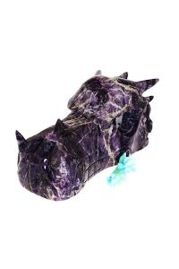 Gigantische Amorf drakenschedel, Amethist, Charoiet, Fluoriet, Bergkristal, Hematiet, groot, huge, grote, draak, crystal dragon skull, kristallen drakenschedel, kopen