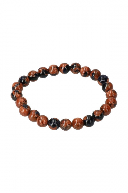 Goudsteen met blauwsteen armband, 8 mm, powerbead, edelsteen armband, edelstenen armband, powerbead armband, bracelet, kopen