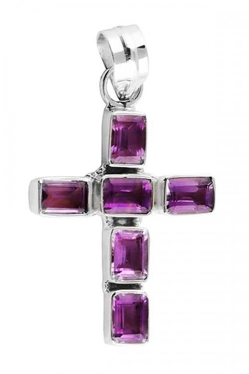 Amethist Kruis zilveren hanger, amethyst, kopen, sieraad, sieraden, edelstenen, edelsteen