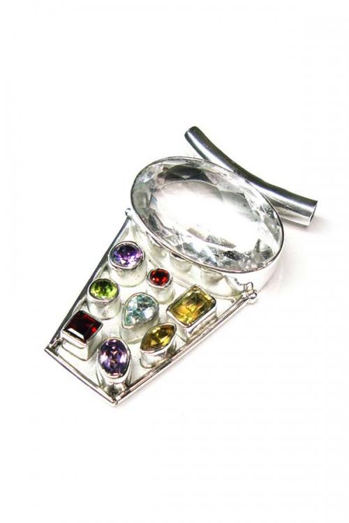 multicolour edelsteen hanger, pendant, kopen, edelsteen, edelstenen, sieraden, sieraad, Bergkristal zilveren hanger met diverse stenen, 4.5 cm