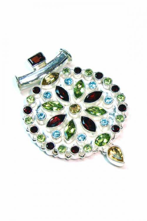 Zilveren bloem met Peridoot, Citrien, Granaat en Topaas, 925 sterling, kopen, pendant, sieraden, sieraad, edelstenen, edelsteen