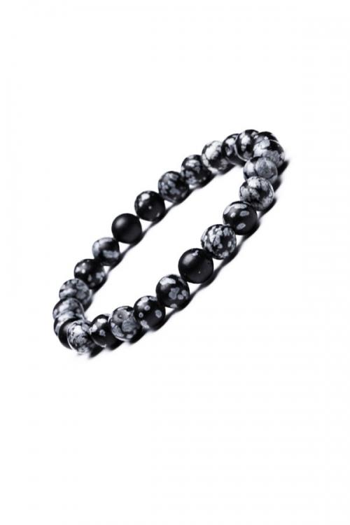 Sneeuwvlok Obsidiaan armband, 8 mm, powerbead, snowflake obsidian, kopen, edelsteen armband, edelstenen, bracelet, sieraad, sieraden