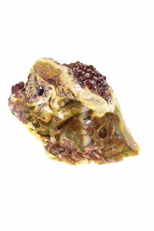 Rode kwarts overgroeid met Calciet kristallen schedel, special crystal skull, speciale kristallen schedel, geode skull, bijzonder, kopen, happy spirit, arnhem, groot