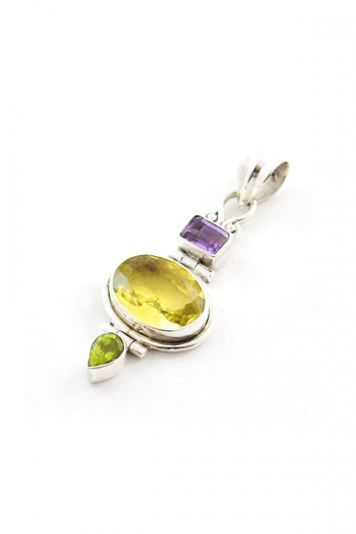 Citrien zilveren hanger met Peridoot en Amethist, 925 sterling, kopen, citrine pendant, coetrien, sieraad, sieraden, edelstenen, edelsteen