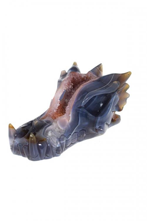 Aardbeikwarts geode drakenschedel, agaat, carneool, aardbeienkwarts, draak, skull, crystal skull