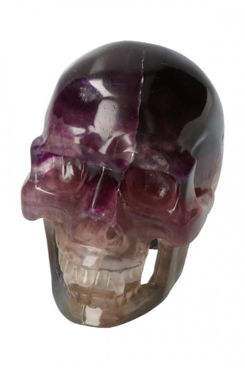 Regenboog Fluoriet Vampier realistische kristallen schedel, holle kaak en neus, 13 cm, 2.38 kilo, Fluoriet realistische kristallen schedel, holle kaak, realistic crystal skull, kopen, fluoriet schedel, fluorite