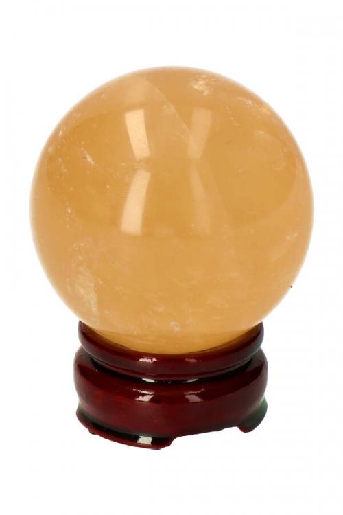 GoudenCalciet edelsteenbol (gele calciet),6.4 cm, 401 gram