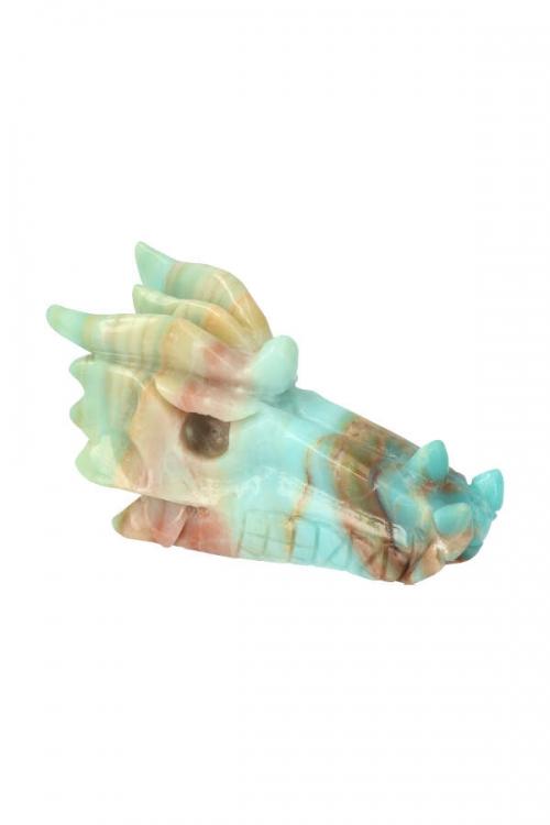 amazoniet grote kristallen draak 12.5 cm, amazoniet kristallen draak, amazonite crystal dragon, drakenschedel, draak, skull, crystal skull, kristallen schedel, amazoniet
