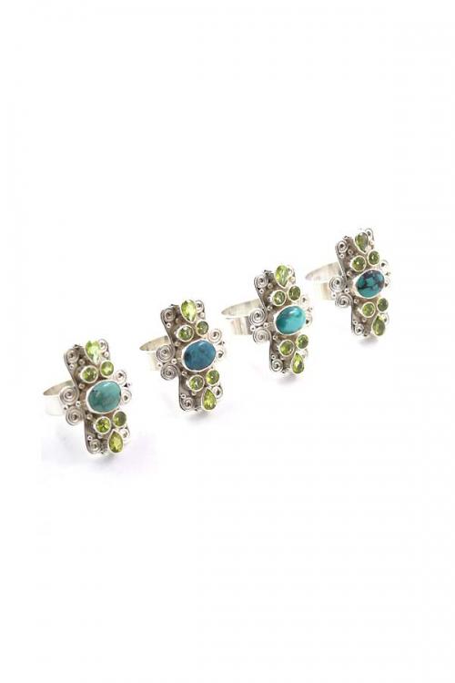 Turkoois met Peridoot zilveren ring, 925 sterling, turqouise, edelsteen ring, edelstenen ring, sieraden, kopen, olivijn