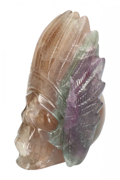 Regenboog fluoriet indianenschedel, indian crystal skull, native american crystal skull,